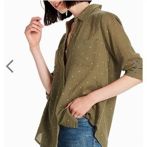 Lucky Brand Embroidered Dots Olive Green Button Up